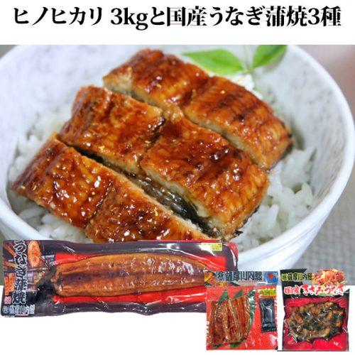 ○ヒノヒカリ3kgと国産うなぎ蒲焼3種【送料無料】