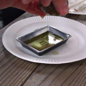 椿油搾り体験と甑の魚介のアヒージョ試食