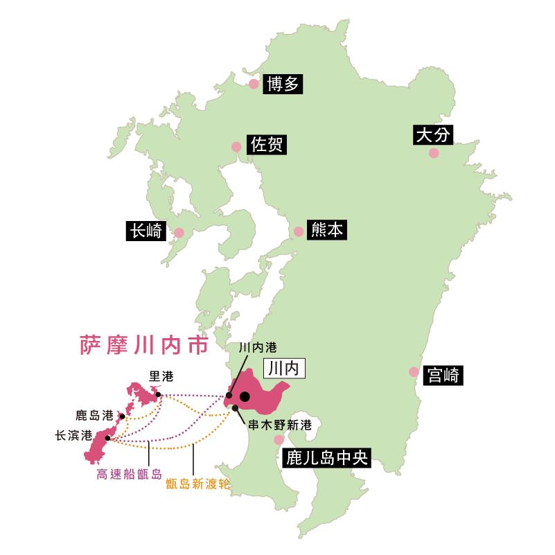 甑島へのアクセス