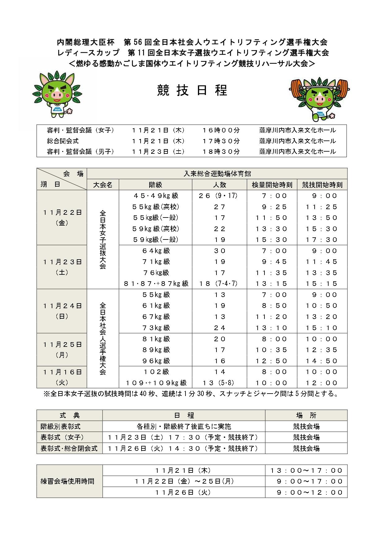 内閣総理大臣杯 第56回全日本社会人ウエイトリフティング選手権大会・レディースカップ第11回全日本女子選抜ウエイトリフティング選手権大会〈燃ゆる感動かごしま国体ウエイトリフティング競技リハーサル大会〉